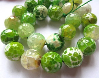 wholesale agate gemstone  round ball faceted olive green assortment jewelry  beads 12mm--5strands 16inch/per strand