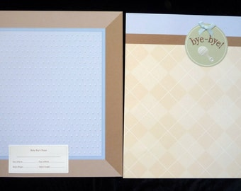 New- TWO 12 X 12 Pre-Made Scrapbook Pages   B is for Baby Boy