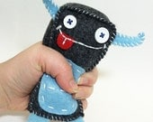 Tall Gray and Blue Plush Monster Toy