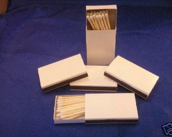 50 Plain white cover jacket wooden matches in cardboard box matches