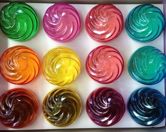 "12 Kupcake Keeper Individual Cupcake holders assorted colors 3.5"" x 3.5"""