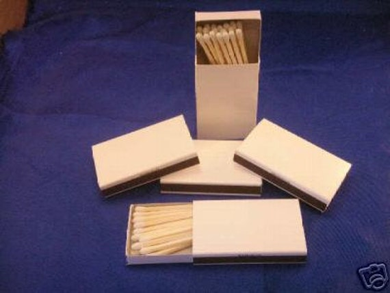 50 plain white cover jacket wooden matches in cardboard box for Blank matchboxes for crafts