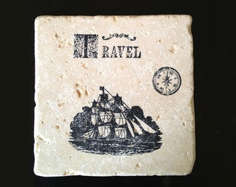 Travel Travertine Coasters - Set of 4