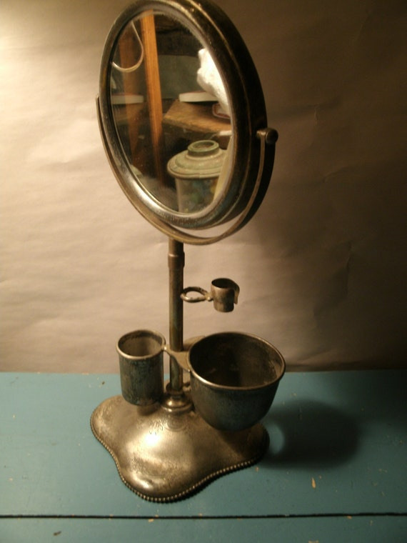 Antique Vintage Shaving Mirror Stand With Shaving Cup And