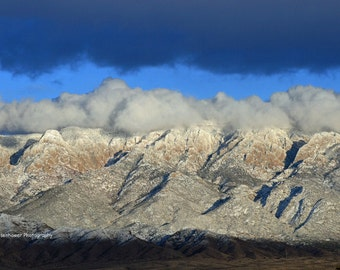 Sandia Mountains, Photography, winter, storm, clouds, Albuquerque, New Mexico, snow, Val Isenhower, wall art