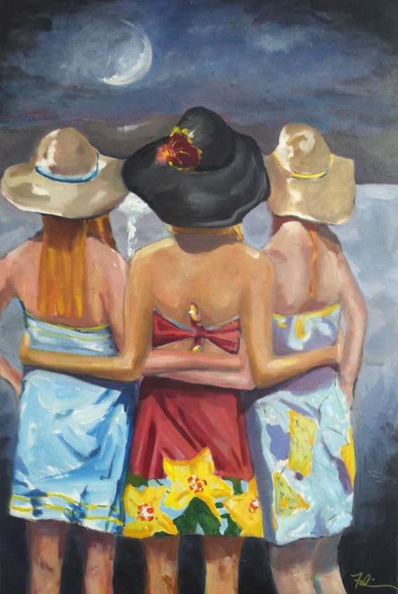 "Spring Dresses and Hats,, ""Stand By Me"" 18 x 24, Limited Edition of Three Girlfriends, BFF's in Lily Dresses and Kentucky Derby Hats"