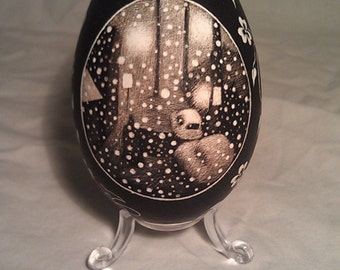 Covered - Etched Goose Egg w/ Snow Covered Street and Flower
