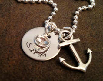 Personalized anchor necklace with name charm and birthstone navy wife girlfriend mom military deployment military spouse squadron gift