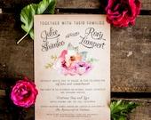 Rustic Wedding Invitation Vintage Wedding Invitation Rustic Wedding Invitation Floral Wedding Invitation flowers floral pink boho- The Hardy