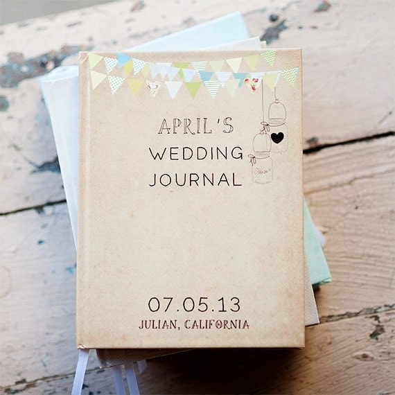 items similar to wedding journal notebook wedding planner personalized customized wedding date and names custom design bridal shower guest book on