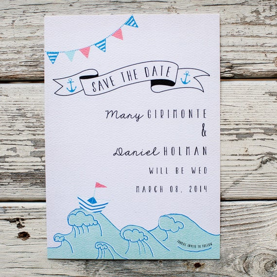 Nautical Save the Date, Save the Date card - The Mary - nautical, rustic wedding, beach wedding, rustic save the date, eco friendly, waves