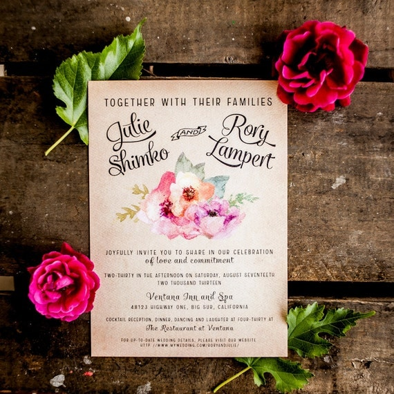 Rustic Wedding Invitation Vintage Wedding Invitation Rustic Wedding Invitation Floral Wedding Invitation flowers floral pink boho- The Hardy