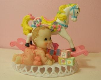 Baby Girl Cake Topper /  Rocking Horse Cake Topper / Girl Cake Topper / Girl Shower Top /