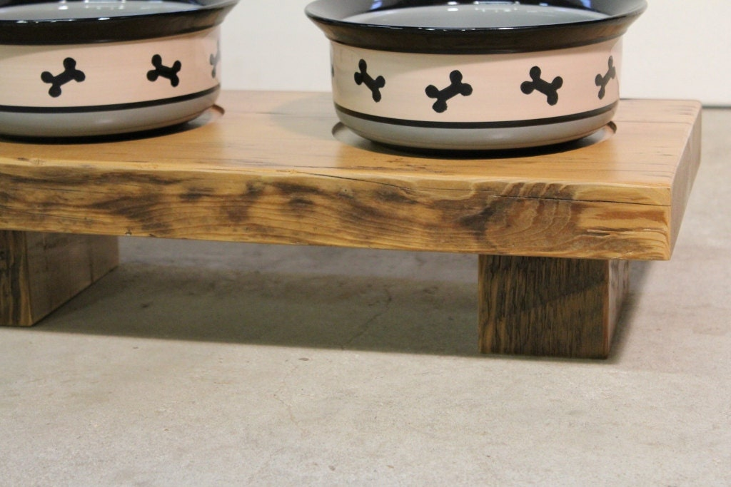 items similar to reclaimed wood dog bowl stand on etsy. Black Bedroom Furniture Sets. Home Design Ideas