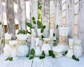 Burlap and Lace - Sage Green and Ivory SHABBY CHIC and RUSTIC Vase Collection, Wedding Vase Decor, Rustic Shabby Chic Wedding