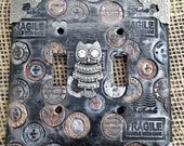 Steampunk Inspired Multicolored Owl Polymer Clay Double Light Switch Plate Cover