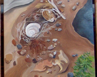 """Beach-Shells and other natural bits washed ashore , acrylic painting on canvas 20"""" x 20""""  Framed"""