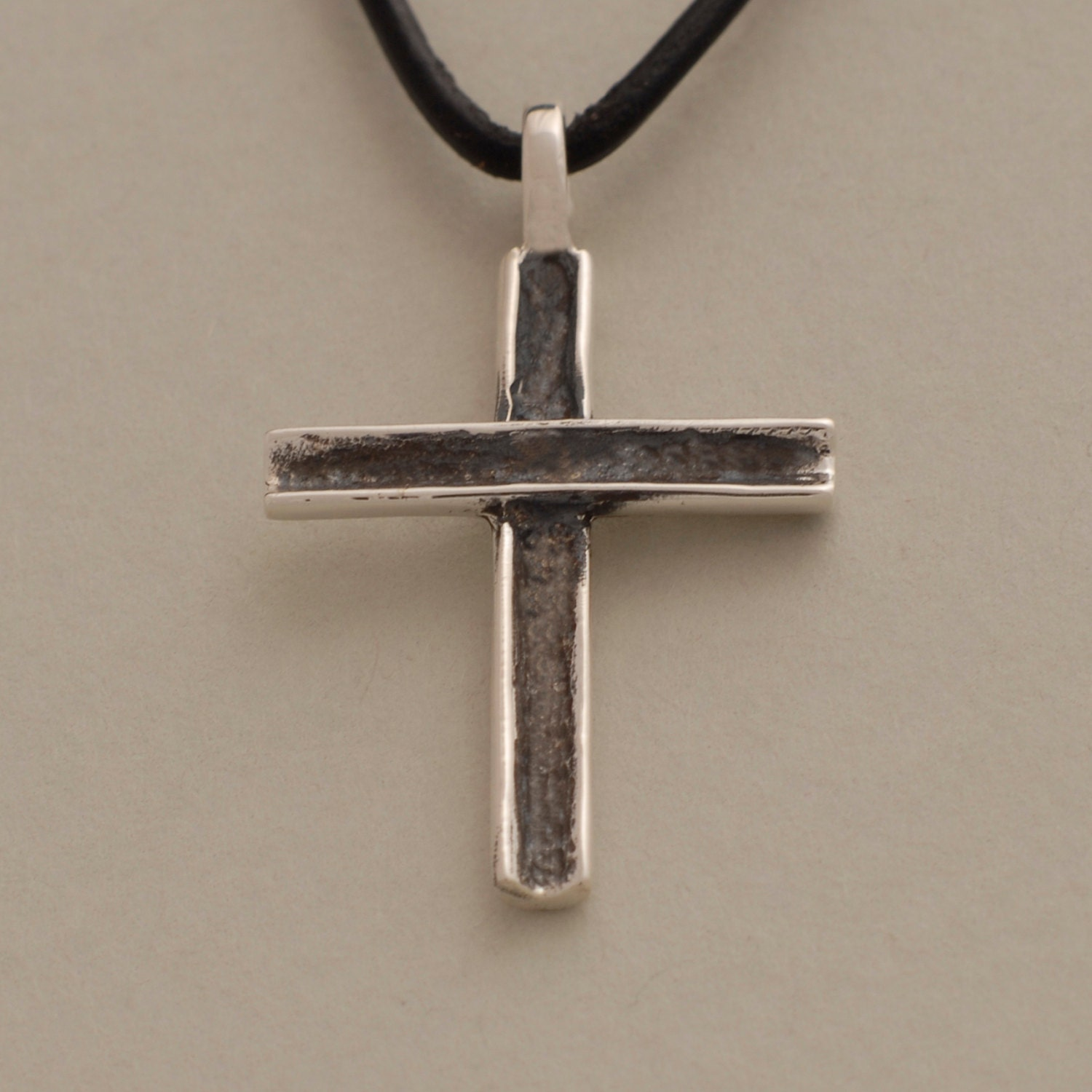 mens cross necklace rustic oxidized silver cross pendant. Black Bedroom Furniture Sets. Home Design Ideas