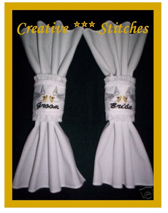 Wedding party napkin rings embroidery machine designs