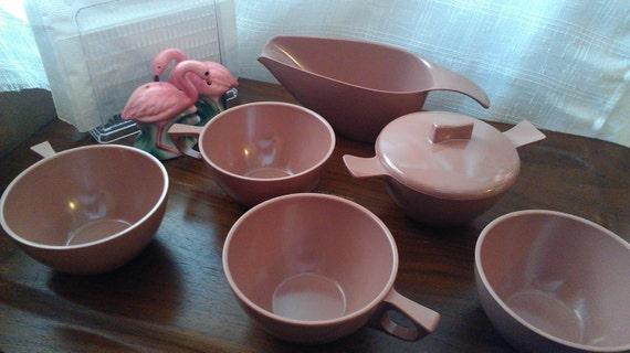 Set Of 4 Melmac Pink Brown Dark Mauve Cups Sugar Bowl And Creamer