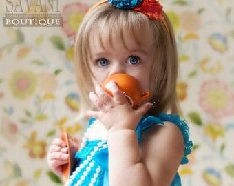 SALE Teal and orange Baby headband, vintage headband, shabby chic roses headband, headband