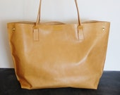 Large Beige-ish Leather fold in TOTE