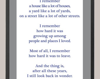 """Wonder Years """"I Remember"""" Quote 11 x 14 Inspiration Print"""
