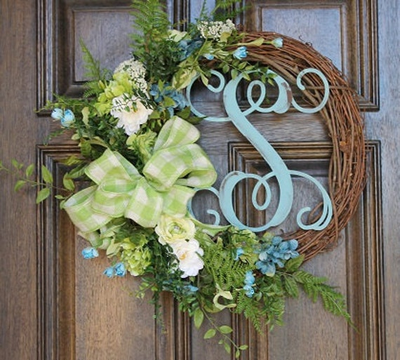 Green And Turquoise Wreath Spring Wreath Monogram Wreath