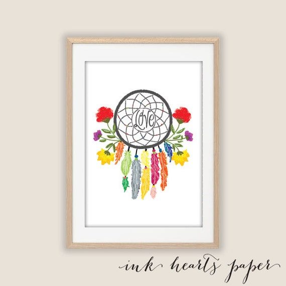 PRINT A4 Bohemian feather and flower Dreamcatcher Wall Art