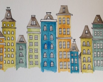 Bright City Scene, watercolor and ink whimsical houses and buildings, baby room, print of original painting