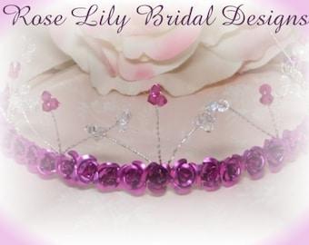 Maddy -  crystal and metal flower tiara