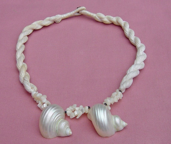 Mother of pearl poker chip necklace
