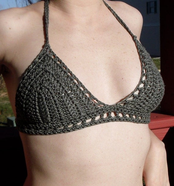 Graphite Grey Crochet Bra