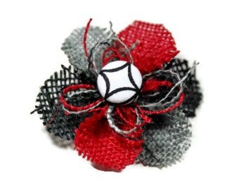 Red, Gray and Black Small Burlap Flower Accessory - Black and White Center