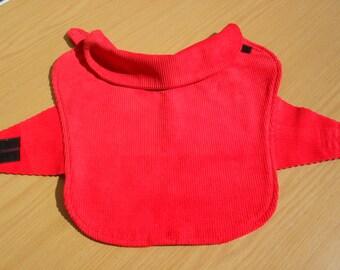 Red Corduroy Dog Coat with red fleece lining. Item No. LDC0249