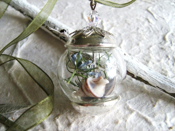 Hand Blown Glass Bead with Coral, Shell and Cornflower on a Green Organza Ribbon