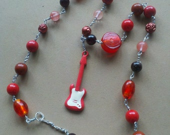 Red Guitar Hero Necklace Wire-Wrapped Red Gemstone Glass Acrylic Beads Found Pendant