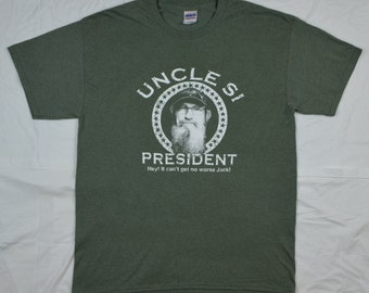 T-Shirt: Uncle Si for President, Duck Dynasty, Heather/Military Green in Sizes S-3X