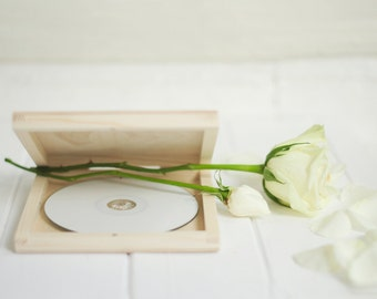 Single CD case, wedding case, wooden box, keepsake box, natural wood , wedding keepsake, dvd keepsake, cd case, cd box, dvd box