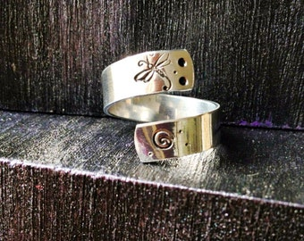 Spiral Ring, Personalized Ring, Engraved ring, Adjustable, Dragonfly ring, yoga ring, Ohm ring, music ring, peace ring, yin yang  SPRALS01