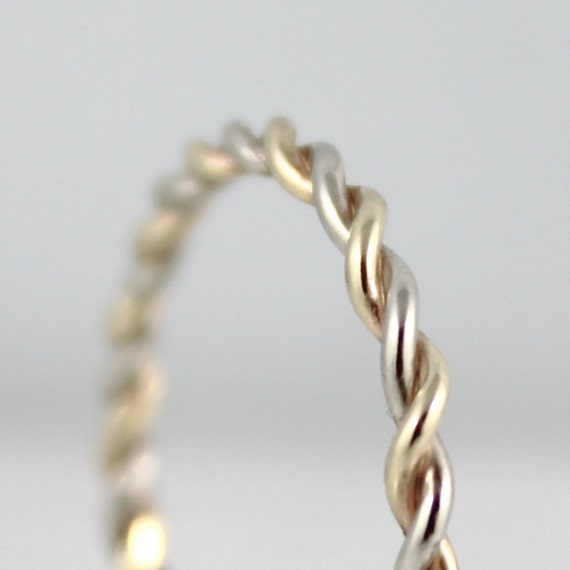 14K White and Yellow Gold Wedding Band - Twist Band - Stacking Ring  - Yellow and White Gold Wedding Band - Friendship Ring