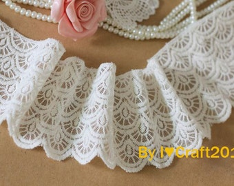 Tulle Lace Trim Milk White Cotton Scalloped Lace Embroidered Tulle Lace Trim 2.75 Inches Wide 2 Yards Costume Headware Supplies
