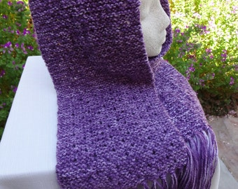 Hand knit eyelet pattern scarf in white and purple