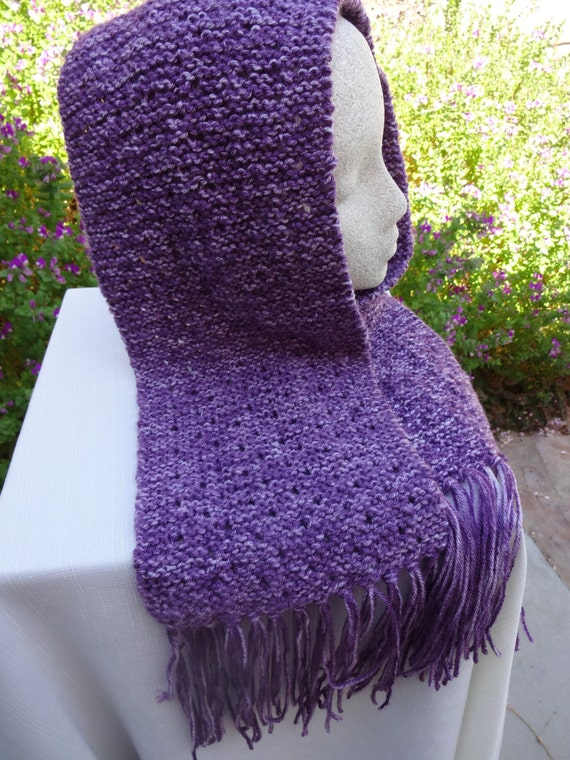 Hand knit eyelet pattern scarf in white and purple-READY TO