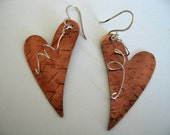 Copper Heart Earrings Sterling Silver Twist Sterling Handmade Earwires - fitzidesigns