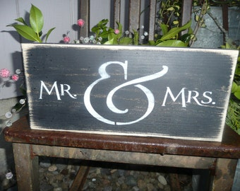 MR & MRS Hand Painted Wood Sign, Wedding, Wall Decor, Bride, Groom