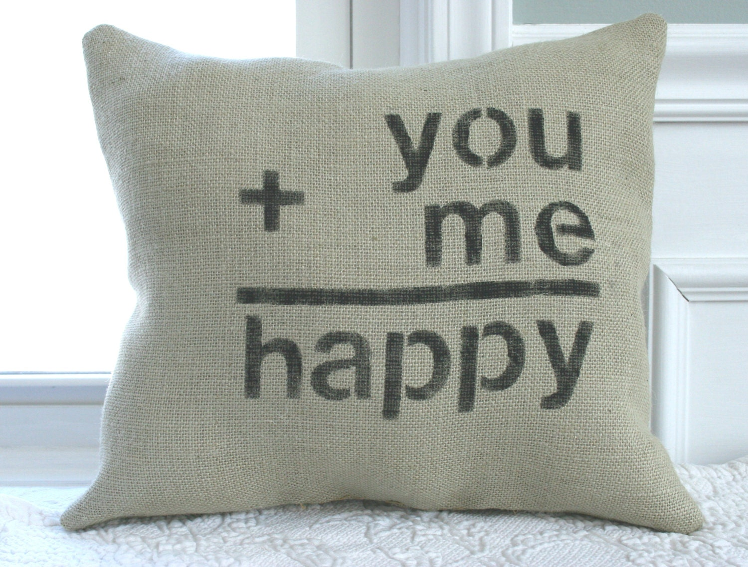 Burlap Throw Pillows Etsy : Burlap Happy Love Pillow by CariJoyDesigns on Etsy