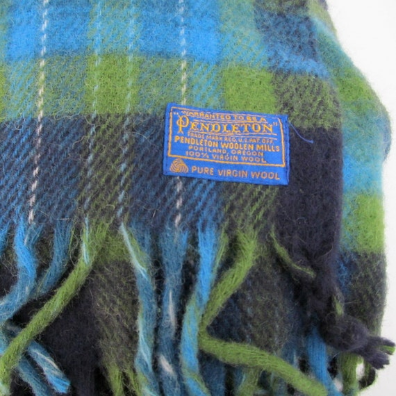 on sale vintage pendleton wool blanket blue and green. Black Bedroom Furniture Sets. Home Design Ideas