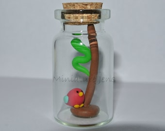 Miniature Bird and a Worm ornament bottle