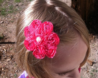 Hot Pink Lace Flower Clip with a Pearl